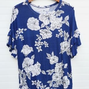 Tops - Floral Ruffle Sleeve Top